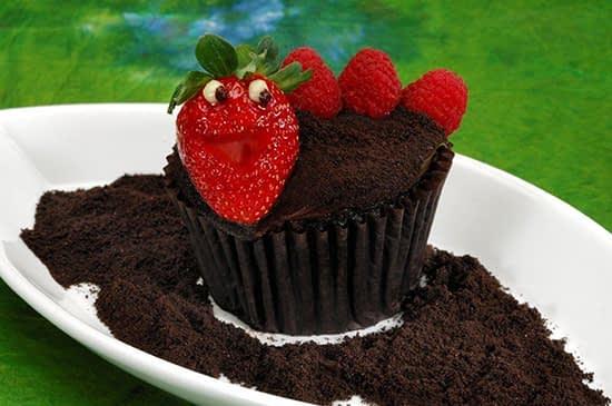 Cupcake Worms & Dirt com morangos e framboesas frescas